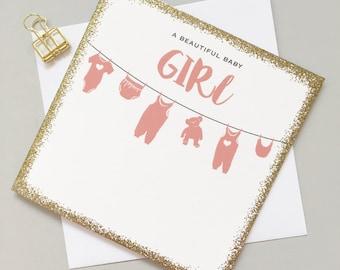 Baby Girl card - Cute baby girl card - New baby girl pink card - Modern new baby girl card - Stylish new baby girl card