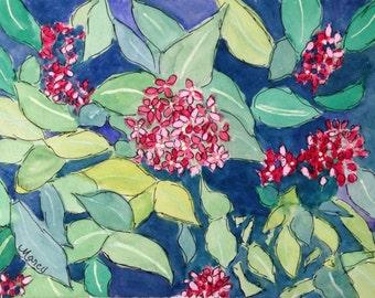 "Original Watercolor, ""Ixoria"", 5""x7"" Matted to 8""x10"""