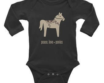 Peace Love + Ponies -- Long Sleeve Infant Bodysuit