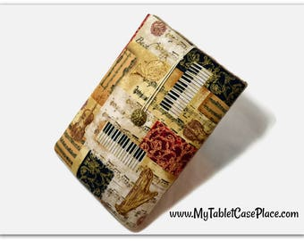 Tablet Case, iPad Cover, Music, Musical Instrument,  iPad Mini Case, Kindle Fire Cover, Tablet Sleeve, Cozy, Handmade, FOAM Padding, Gift