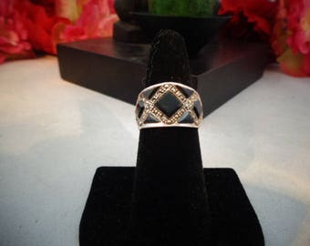 "Vtg Black Enamel and Marcasite Checkerboard Ring. Size 7.75. Excellent Condition. The Band is 3/4"" Front and 1/8th "" Back"