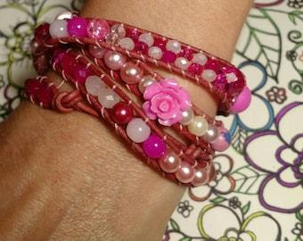 My sweet Baboo, leather wrap bracelet, multi-wrap bracelet, layered bracelet, leather beaded bracelet, beaded wrap bracelet, sweetheart