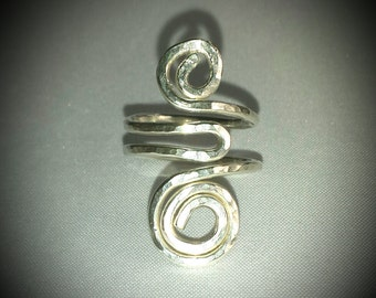 NEW! Handmade Hammered Sterling Silver Scroll Ring...Size 5 Adjustable