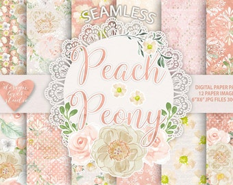 Watercolor Peony peach flowers digital paper, Flower background, Floral pattern, dots pattern, seamless pattern, Repeatable Digital Paper