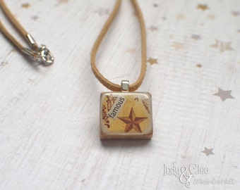 Star Scrabble Necklace, Handmade Scrabble Tile Pendant, Art Collage, Wood Pendant, Scrabble Jewelry, Vintage Look, Tiny Jewelry, famous