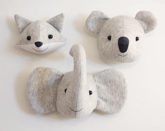 3 Faux taxidermy baby animal heads trio wall decorstuffed wall decor