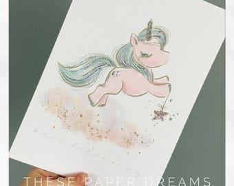 Wall print whimsical unicorn decor, digital design, nursery decor, rainbow unicorn, sleepy unicorn, cloud swing, magical stars, a4 print.