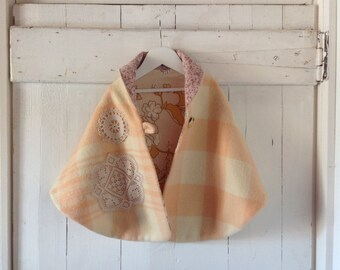 Children's Girls winter Cape in dusk pink.Size 5 to 8.Made to order.