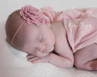 Mauve headband, dusty pink headband, pink baby headband, mauve baby headband, flower headband, infant headband, newborn headband, baby bows