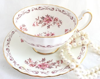 Aynsley Tea Cup and Saucer, Pink Flowers with Gold Trim, Vintage Fine English Bone China