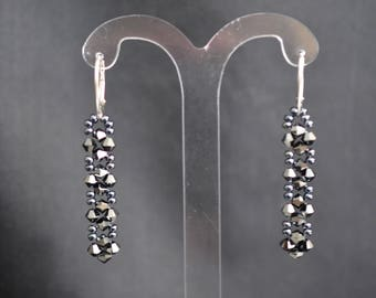 Swarovski crystal earrings and silver 925 hematite 2x