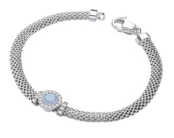 "925 Sterling Silver 7"" Victorian Mesh Bracelet with Blue Cz Stone"