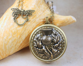 Music box pendant etsy thistle music box locket bronze large locket music box necklace music box pendant aloadofball Gallery