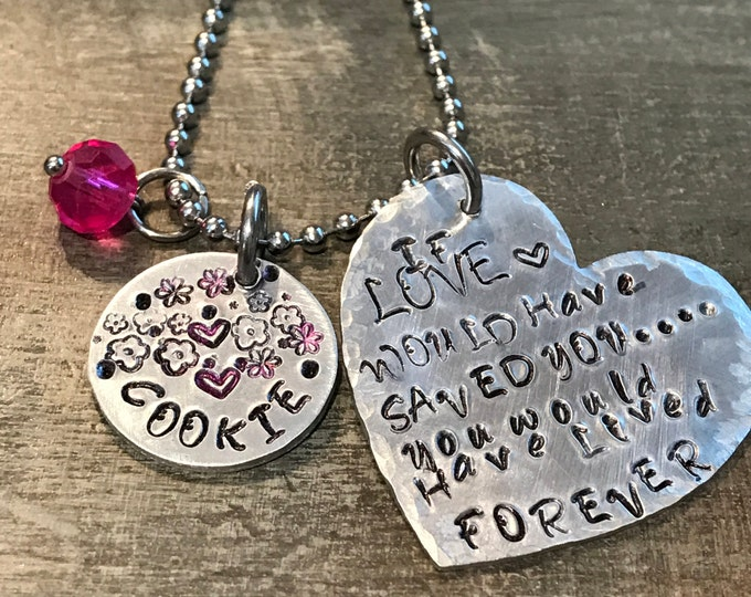 Rainbow bridge pet loss necklace If love would have saved you.. heart hand hamped