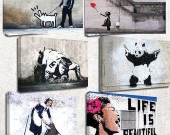 BANKSY Essentials Set of 6 Canvas/Giclee Prints Street Art Graffiti  (SIXCS)