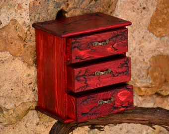 Red Wooden Apothecary Chest,Red Wood Chest,Apothecary Box,Wood Apothecary Cabinet,Jewelry Storage,Wood Mini Chest,Jewelry Chest,Trinket Box