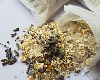 Lavender and Oat Bath Tea, Bath Gift, 3x Bath Teas, Bath Salts, Relaxing and Soothing, Bath Salt Gift, Lavender, Epsom Salt, Oats