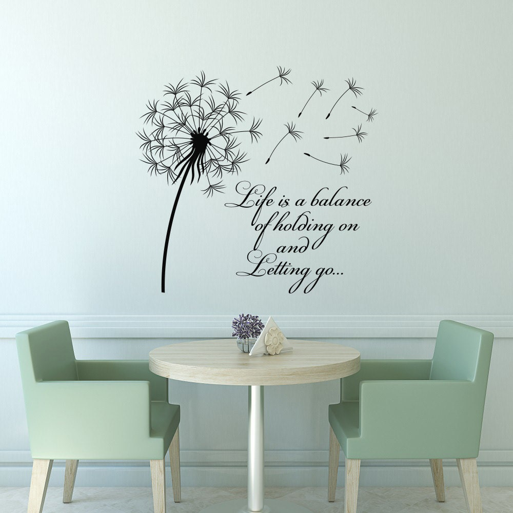 Wall Decals Quotes: Dandelion Wall Decal Quote Life Is A Balance Holding On