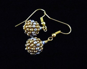 Beaded Earrings, Gold and Silver, Seed Beads, Beaded Beads, Dangle, Drop, Glass Beads, Evening Jewelry