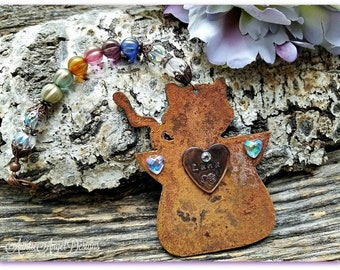 Rainbow Bridge Primitive Cat Memorial, Primitive Cat Angel, Angel Cat Ornament, Country Kitty Ornament, Rainbow Kitty, Loss of Cat Sympathy