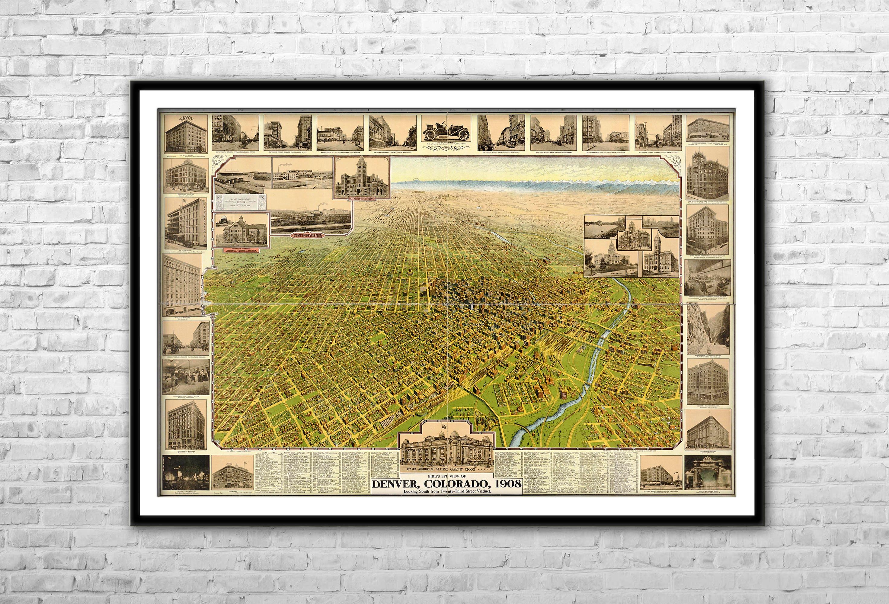 Vintage Denver Map 1908 Panoramic Birds Eye View Large
