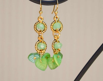 Green Leaves Among Gold - Dangle Earrings with Crystals, Spring Green