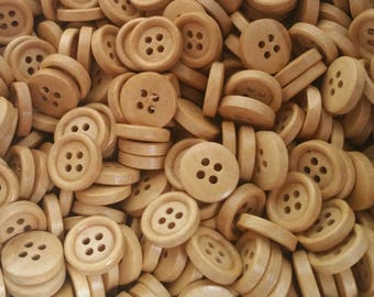 "Wood Buttons - Wooden Sewing Button - 15mm - 5/8"" Wide - 50 Buttons - Dark Blonde"