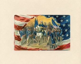 Vintage Washington's Birthday US Patriotic Postcard Taking Command of the Army by Raphael Tuck American Flags Horses Used Embossed - 9243
