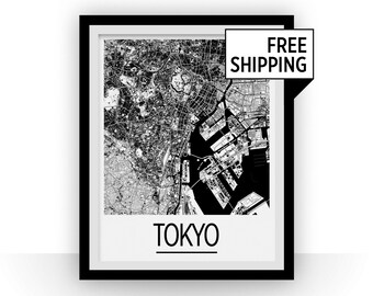Tokyo Map Poster - japan Map Print - Art Deco Series