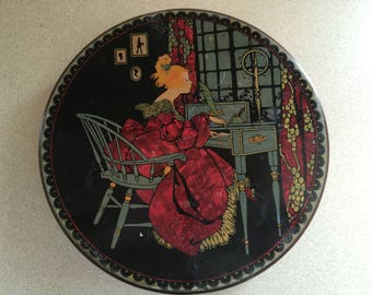 Vintage Round Tin Container - Lady At Desk In Period Clothes Sunlite Tindeco Pat. NO 1592557