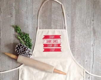 Christmas Apron Elf Quote Candy Canes Apron Holiday Baking Cotton Canvas Full Apron Christmas Baking Cooking Gourmet Gift