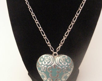 Vintage Silver Tone and Teal Heart Necklace