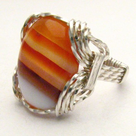 Handmade Sterling Silver Wire Wrap Red/White Sardonyx Ring