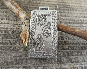 Hill Tribe Fine Silver Leaf And Flower Rectangular Pendant - Bohemian Findings - Jewelry Making Supplies - TLF1
