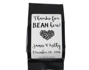 Wedding Coffee Favors -  Thanks for Bean Here