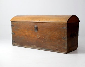 antique wood trunk, antique chest