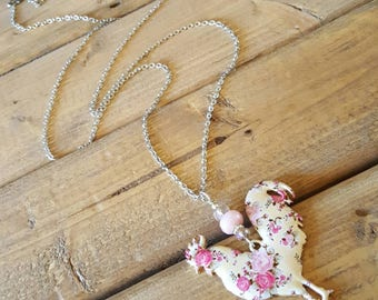 "Large Floral Rooster on Light Pink Beaded Drop on 30"" Stainless Steel Chain by by Little Blue Bus Jewelry -Pink - Flowers - Chicken - Farm"