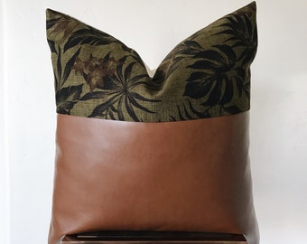 ROMA: Olive Barkcloth & Leather Pillow Cover - 18x18 20x20
