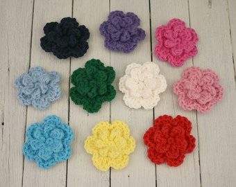 Large Crochet Flower Appliqués - Pick Your Colour
