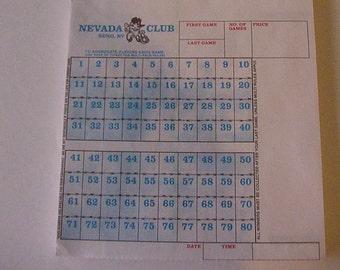 1960's Two Unused Paper Keno Game Tickets Reno's Nevada Club Casino Closed Obsolete