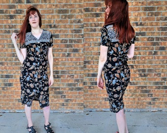 Women's Black Floral Midi Dress/Vintage Short Sleeve Button Up Dress/Size 7/8 All That Jazz