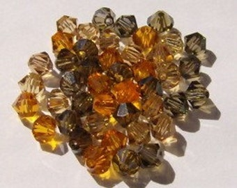 60 Swarovski crystal beads 4mm BICONE 5301 Crystal Beads EARTHY MIX