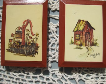 Set of two Little Pictures from artist Pat  S. from the 1970's. Everyone in the 70's had these in their house!!!