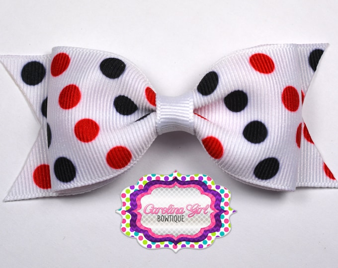 """Geogia Inspired Dots Tuxedo Bow ~ 3.5"""" Hairbow ~ Small Hair Bow ~ Girls Barrette ~ Toddler Bow ~ Baby Hair Bow ~ Hair Clip ~ Girls Hair Bow"""