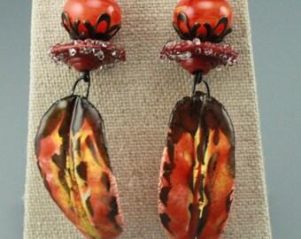 Rustic Boho Earrings, Boho Earrings, Hippie Earrings, Rustic Hippie Earrings, Tribal Earrings, Primitive Earrings, Orange Earrings, #627-114