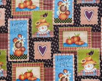 Happy scarecrow autumn dog bandana slides over the collar