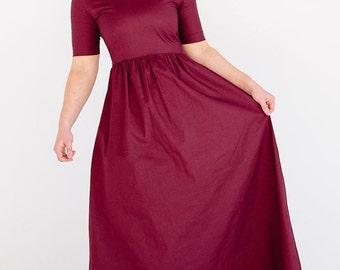 Maroon wine red dress, dark red dress, vintage style dress, maxi dress, cotton dress, evening formal gown, bridesmaid dress, spring summer
