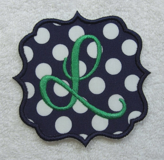 embroidered letter patches items similar to quatrefoil single letter monogram fabric 21477