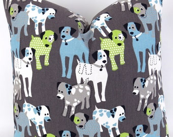 Dogs Pillow Cover -MANY SIZES- puppy cushion, euro sham, kids bedding, puppy nursery, blue brown green, WoofWoof Mantis Macon Premier Prints