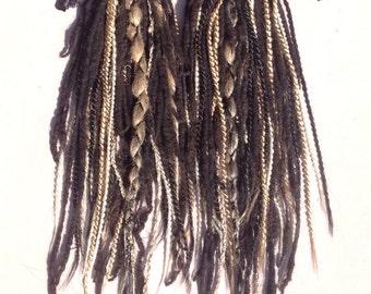 Blond synthetic dread and black wool tie-in dread set- CUSTOM